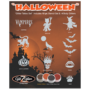 Halloween-Glitter-Tattoo-Stencils and glitter Set
