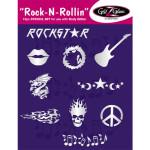 Tattoo stencil set for glitter tattoos rock n rollin