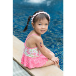 asian girl with cascading butterflies temporary tattoos for kids