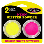 neon glitter pink and yellow LR