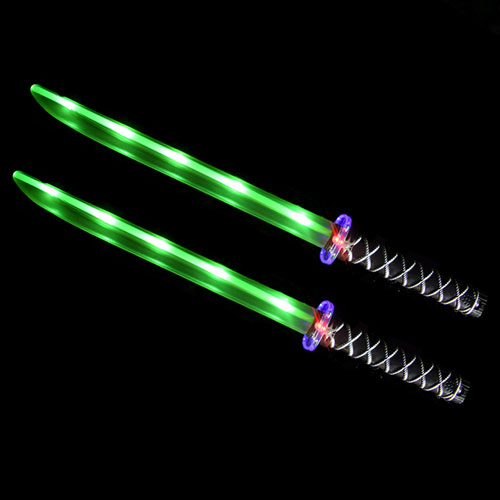 Ninja Sword Toy Light-Up (LED) 2 PACK Green