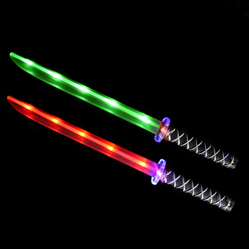 Ninja Sword Toy Light-Up (LED) 2 PACK Green & Red